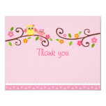 Sweet Owl Baby Girl Thank You Note Cards 11 Cm X 14 Cm Invitation Card