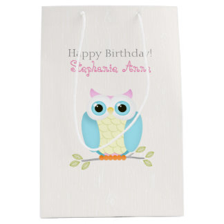 Sweet Owl Birthday Medium Gift Bag