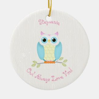 Sweet Owl Birthday Round Ceramic Decoration