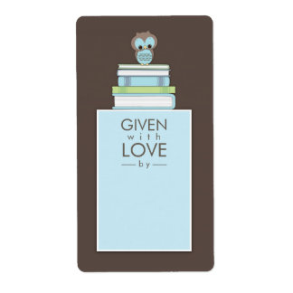 Sweet Owl Bookplate Gift Label Blue | Brown Shipping Label