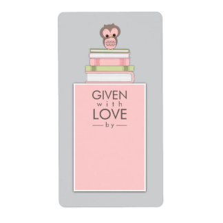 Sweet Owl Bookplate Name Label Pink | Gray Shipping Label