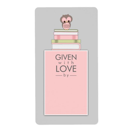 Sweet Owl Bookplate Name Label Pink | Grey Shipping Label