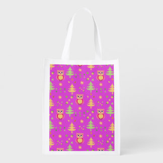 sweet owl pattern reusable grocery bag