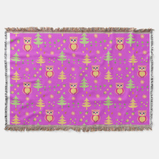 sweet owl pattern throw blanket