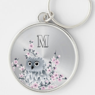 Sweet Owl Pink Silver Silver-Colored Round Key Ring