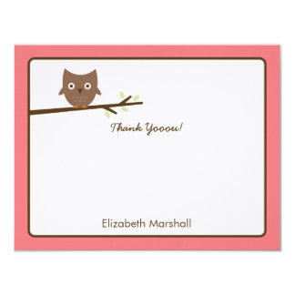 """Sweet Owl Thank You Card (Pink) 4.25"""" X 5.5"""" Invitation Card"""