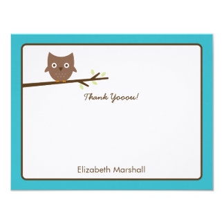 Sweet Owl Thank You Card (Turquoise) Personalized Invitations