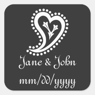 Sweet Paisley Hearts in Black Sticker