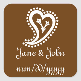 Sweet Paisley Hearts in Chocolate Sticker