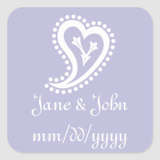 Sweet Paisley Hearts in Lavender Sticker