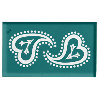 Sweet Paisley Hearts in Teal Table Card Stand Table Card Holder