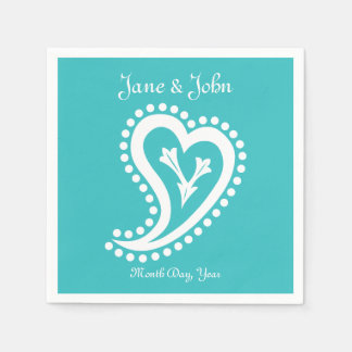 Sweet Paisley Hearts in Turquoise Napkins Disposable Serviette