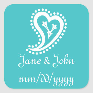 Sweet Paisley Hearts in Turquoise Sticker