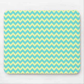 Sweet Pale Teal Blue and Yellow Chevron Pattern Mouse Pad