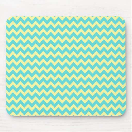 Sweet Pale Teal Blue and Yellow Chevron Pattern Mouse Pads