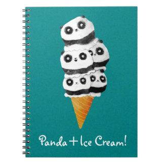 Sweet Panda Bear Ice Cream Cone Note Book