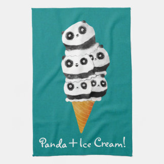 Sweet Panda Bear Ice Cream Cone Tea Towel