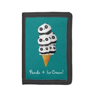 Sweet Panda Bear Ice Cream Cone Trifold Wallets