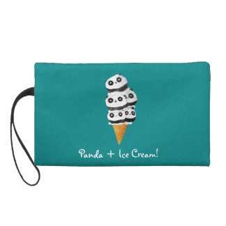 Sweet Panda Bear Ice Cream Cone Wristlet