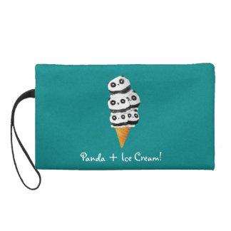 Sweet Panda Bear Ice Cream Cone Wristlet Purses