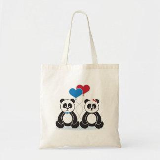 Sweet pandas in love tote bag