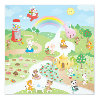 Sweet paradise 13 cm x 13 cm square invitation card