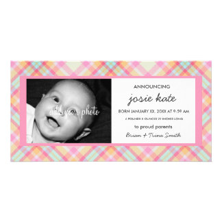 Sweet Pastel Nursery Plaid Birth Announcement Picture Card