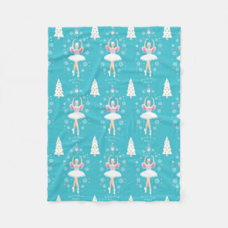 Sweet Pastel Nutcracker Christmas Fleece Blanket