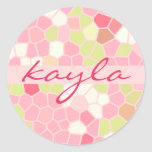Sweet Pastel Pink Green Abstract Pretty Mosaic Round Stickers