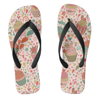 Sweet pattern flip flops