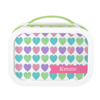 Sweet Pattern Hearts with Name Lunch Box
