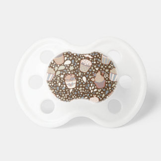Sweet  pattern made of tasty cupcakes baby pacifiers