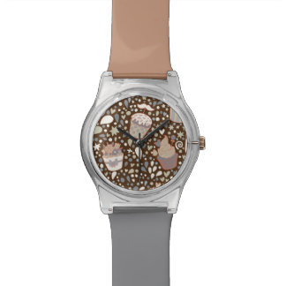 Sweet  pattern made of tasty cupcakes wrist watch