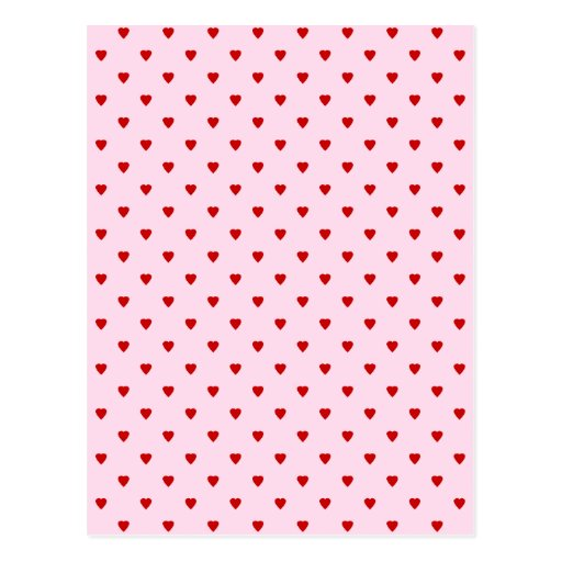 Sweet pattern of red hearts on pink. post card