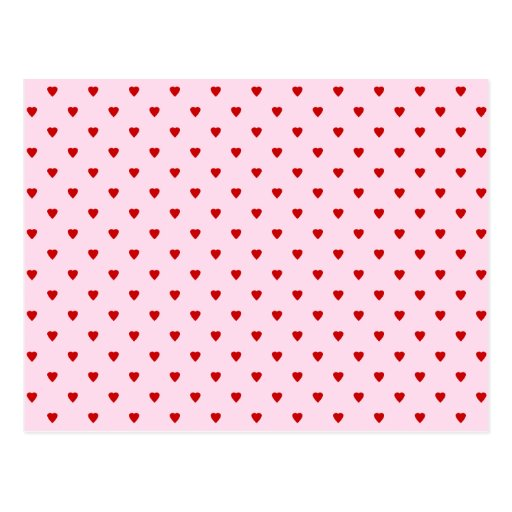 Sweet pattern of red hearts on pink. postcards