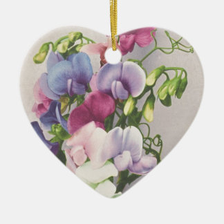 Sweet Pea 1907 Ceramic Heart Decoration