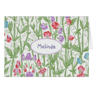 Sweet Pea Floral Pattern Personalized Monogram Greeting Card
