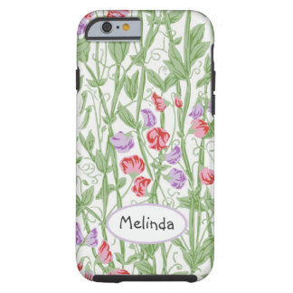 Sweet Pea Floral Pattern Personalized Monogram Tough iPhone 6 Case