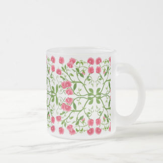 Sweet Pea Flowers Frosted Glass Mug