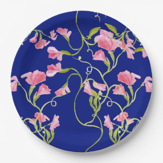 Sweet Pea Flowers Pink on Navy Blue Paper Plate