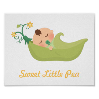 Sweet Pea in a Pod Baby Boy Nursery Room Decor Poster