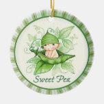Sweet Pea Round Ceramic Decoration
