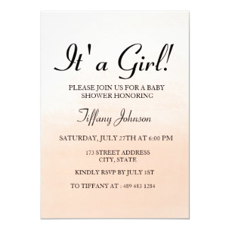 Sweet Peach Ombre its A Girl Baby Shower Invite