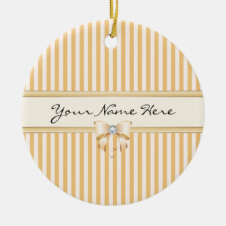 Sweet Peach Stripes with Shiny Ribbon Bow Christmas Ornament