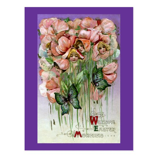 Sweet Peas and Butterflies Vintage Easter Postcard
