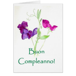 Sweet Peas Birthday Card - Italian Greeting