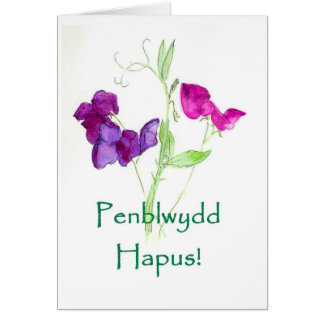 Sweet Peas Birthday Card - Welsh Greeting