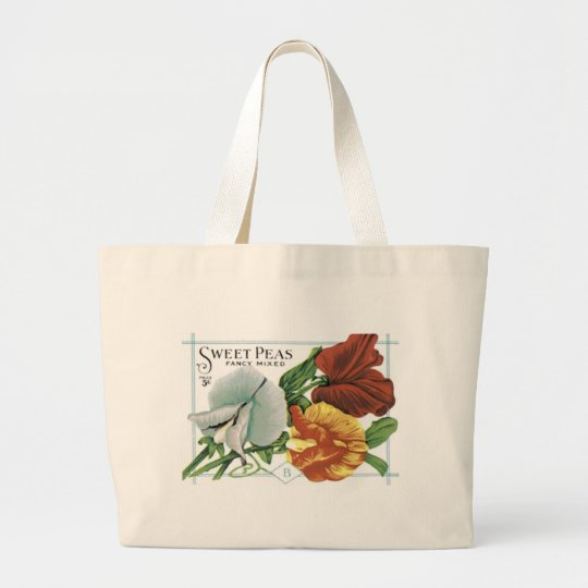 Sweet Peas, Fancy Mixed Large Tote Bag