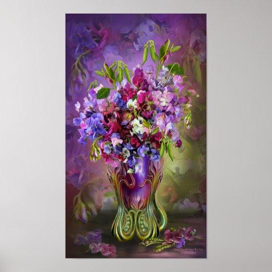 Sweet Peas In Sweet Pea Vase Art Poster/Print Poster