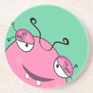 Sweet Peeking Girly Monster Drink Coasters
